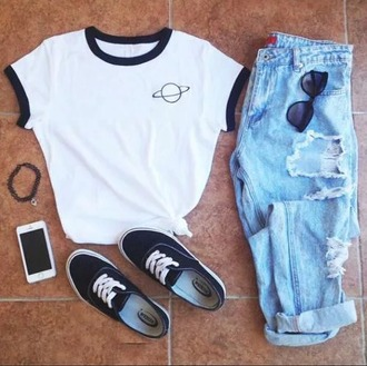 shirt science alien space jeans shoes vans outfit pants sunglasses