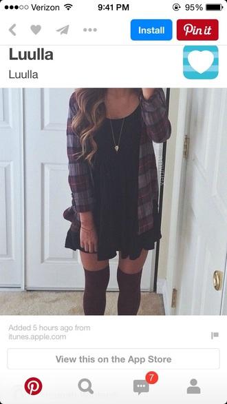 dress little black dress black dress boho dress flannel shirt outfit jacket socks