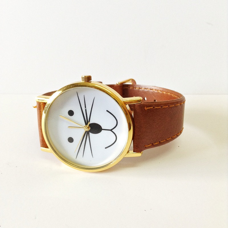 Cat Watch, Kitty Watch, Vintage Style Leather Watch, Retro Watch, Boyfriend Watch,Women Men's Watch , Tan,