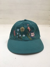 hat,cap,floral,green,flowers