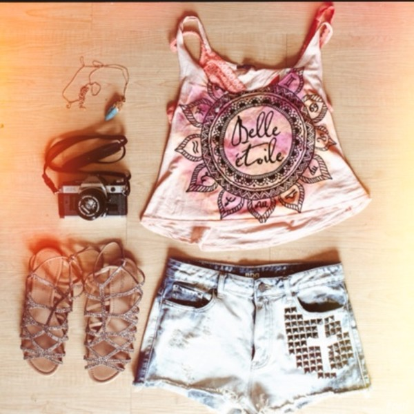 tank top tan peach tank top italian pattern sandals studded shorts shorts necklace shoes jewels