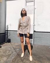 shoes,mules,shorts,blazer,check blazer,shoulder bag,sunglasses