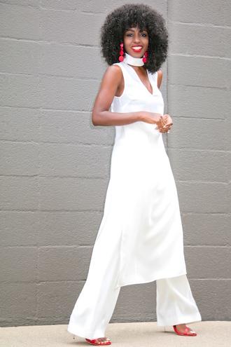 blogger dress white dress tunic dress choker necklace white pants red heels all white everything black girls killin it jewels white choker absolutemarket