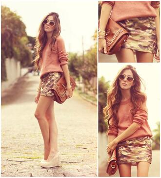 skirt pink camouflage camouflage skirt camoflauge skirt sunglasses gold wedges bag