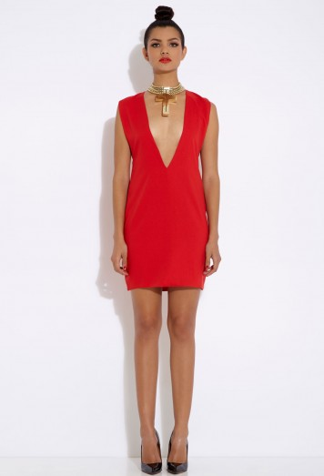 Joker Red Deep V Mini Dress AQ/AQ
