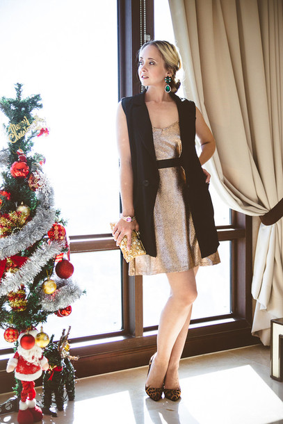 my blonde gal blogger holiday dress glitter dress earrings swimwear dress bag jacket jewels shoes