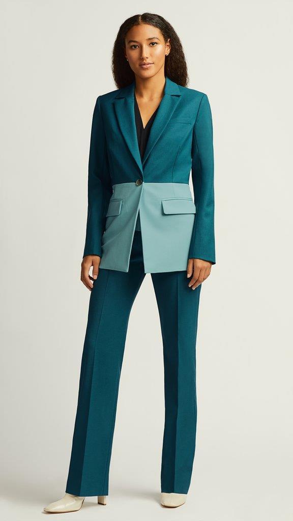 Colorblocked Single Button Blazer