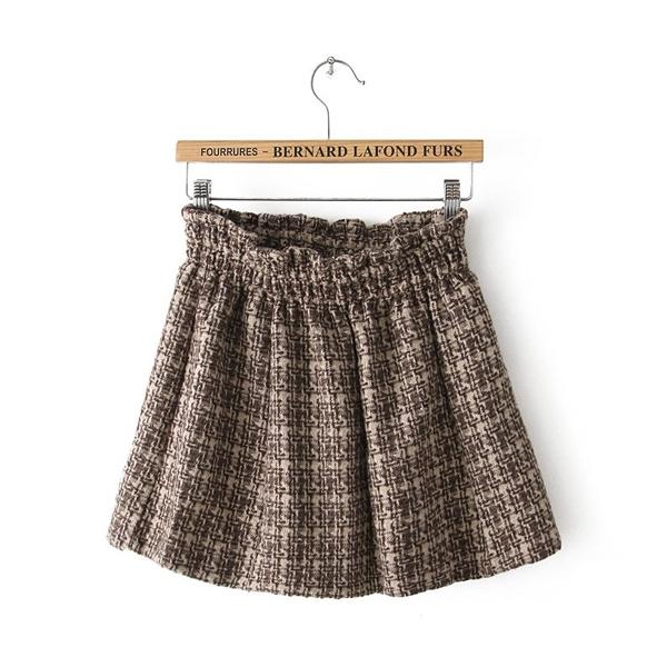 Latest High Waist Woolen Plaids Short Skirt