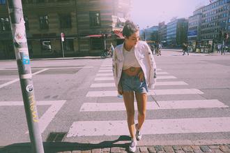 ilirida krasniqi blogger jacket shorts levi's denim shorts