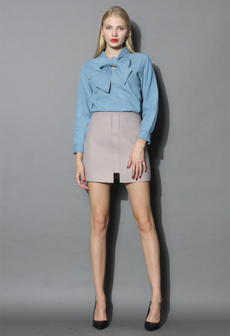 top pocket of charm wool-blend skirt in lilac chicwish skirt