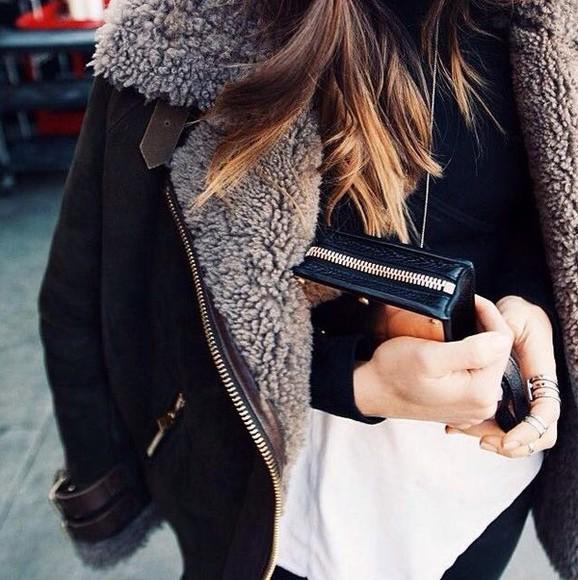 tumblr coat brown coat fur coat wallet