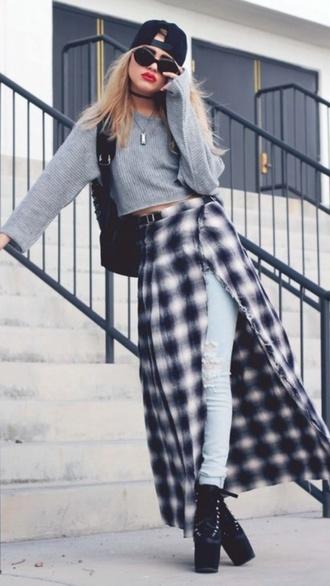 skirt high heels sweater ripped jeans maxi skirt slit skirt sunglasses snapback hat jeans grunge platform shoes