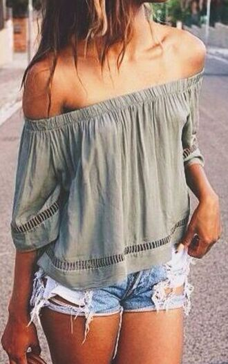 shirt blouse top off the shoulder top green off the shoulder army green girl girly grey top shorts acid wash denim cut offs ripped olive green boho shirt flowy camo green strapless boho