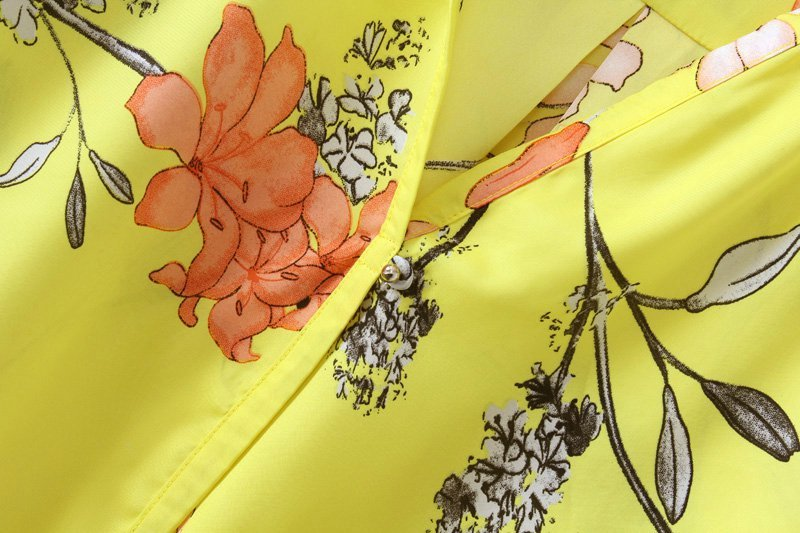 Yellow V Neck Long Sleeve Floral Chiffon Blouse - Sheinside.com