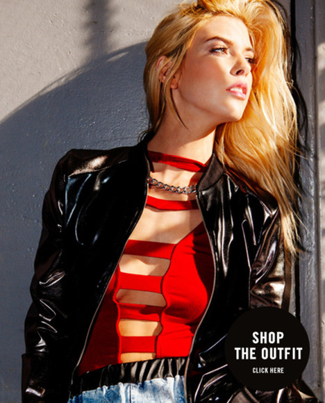 shirt cute bodysuit body bodycon black clothes clothing shoes cut out gojane gold gold chain chain red cut-out leather black perfecto leather jacket leather wet look wetlook jacket jackets pants baggy pants joggers pants trimmed all cute outfits bomber jacket bomber faux leather