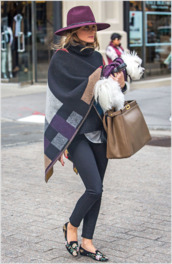 bag,olivia palermo,poncho,hat,fall outfits