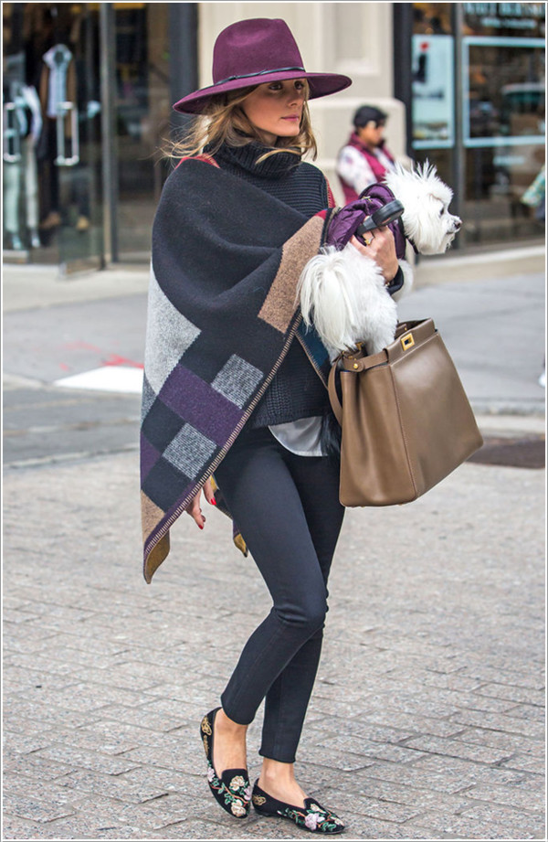 bag olivia palermo poncho hat fall outfits
