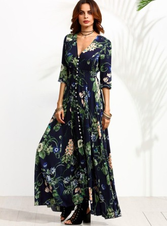 dress blue maxi floral boho boho chic bohemian blue floral maxi dress