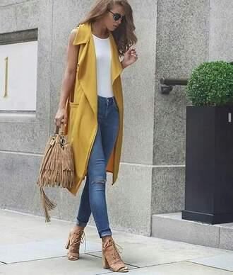 top long top long tops yellow sleeveless sleevless top