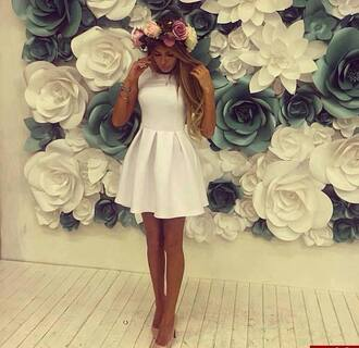 dress white classy i want it so bad!!!!! flowers cute blondie long hair