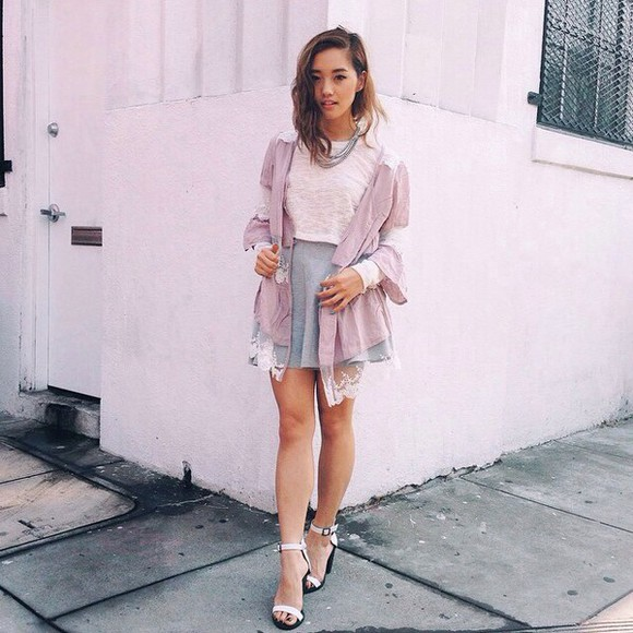 skirt t-shirt grey skirt grey pink style pink t-shirt