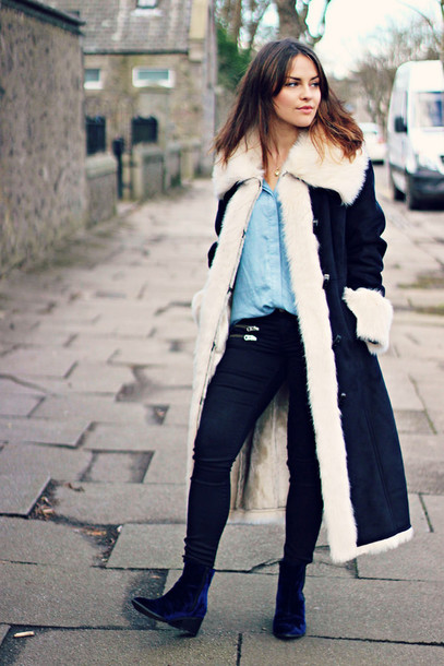 the little magpie blogger long coat winter coat blue shirt shirt coat jeans shoes