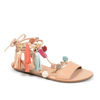 shoes pom poms tassel sandals flats