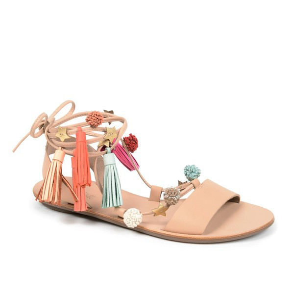 shoes, pom poms, tassel, sandals, flats