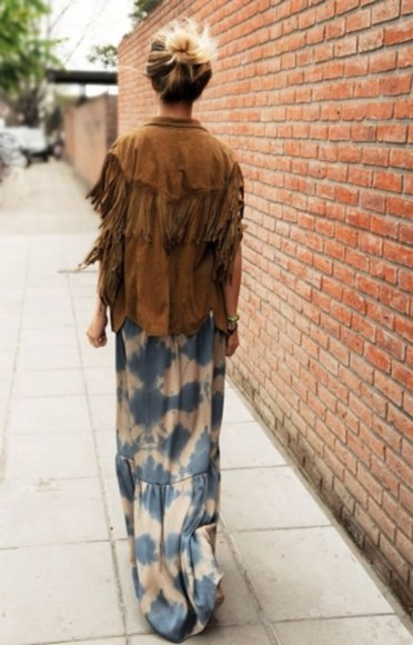 fringe boho coat leather