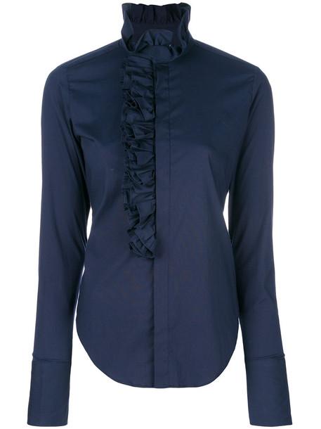 Ralph Lauren shirt women spandex cotton blue top