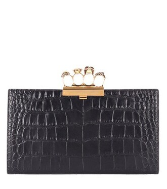 leather clutch embellished clutch leather black bag