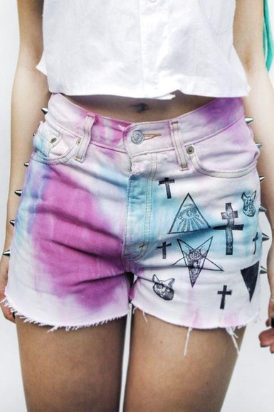 triangle studs denim shorts goth tie dye purple bleached cross crucifix baphomet black cat shredded pastel goth meow pentagram inverted cross grunge