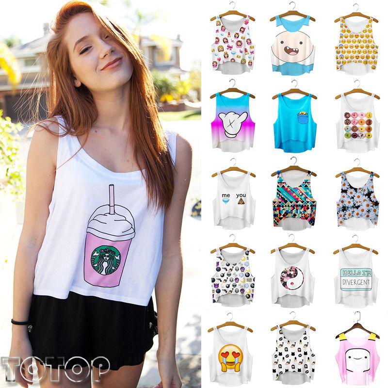 Summer Casual Women Emoji Print Tank Top Vest Blouse Sleeveless Crop T-Shirt Tee