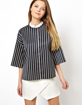 ASOS | ASOS Shirt with Contrast Collar in Structured Pinstripe at ASOS