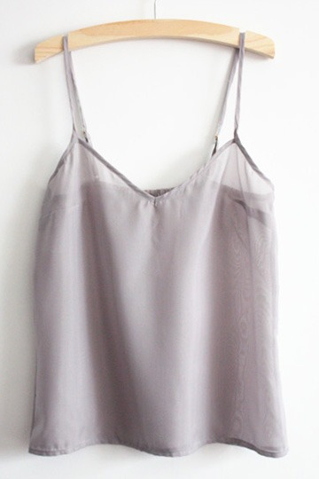 V-neck Light Grey Summer Chiffon Vest [FCBI00285]- US$9.99 - PersunMall.com