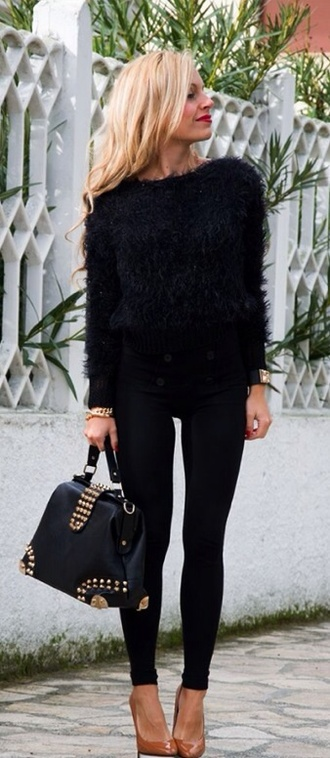 black fluffy jumper model black trousers nice and warm relaxed casual sweater