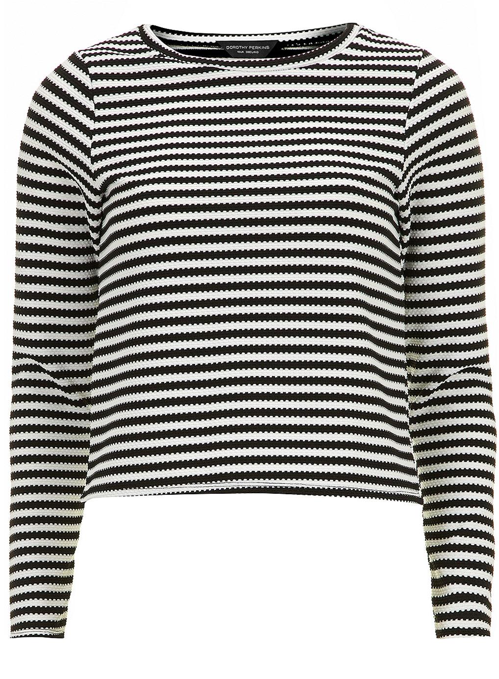 Black Stripe Long Sleeve Cropped Top