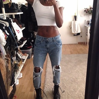 pants boyfriend jeans jeans white crop top chain mirror selfie