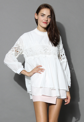 top lace cutout babydoll tunic in white chicwish babydoll tunic chicwish top