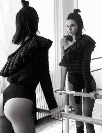 blouse one shoulder vogue kendall jenner model tights bodysuit editorial