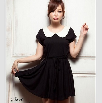dress dark dress collared dress preppy black dress