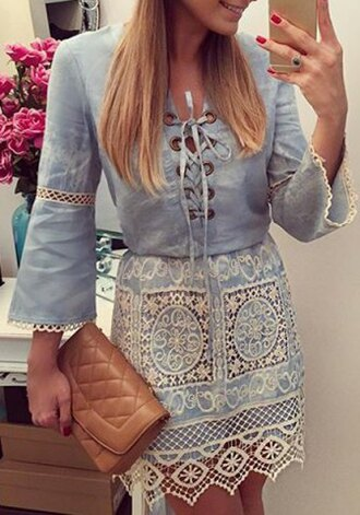 dress lace cute blue lace up summer fall outfits fashion style embroidered long sleeves