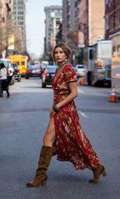 dress,maxi dress,boots,boho dress,boho,hailey baldwin,fall outfits,wrap dress,floral wrap dress,maxi skirt,floral,floral dress,brown boots,boho chic,model