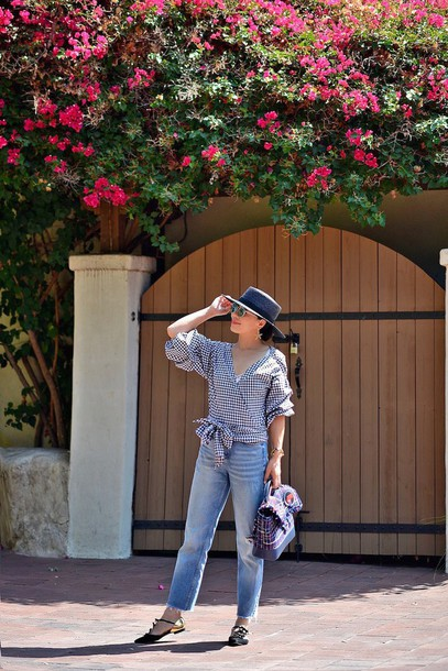 hallie daily blogger top jeans hat bag jewels shoes sunglasses boyfriend jeans flats long sleeves checkered