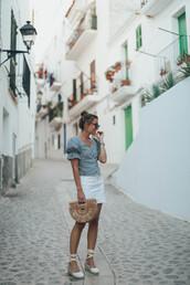 shoes,espadrilles,bag,top,button up,earrings,sunglasses,white skirt,mini skirt
