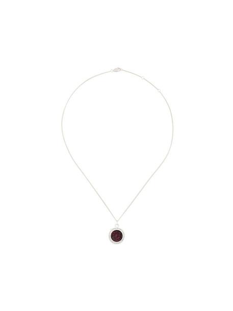 women birthstone necklace silver grey metallic jewels