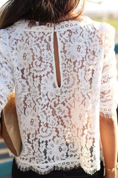 White Lace Blouse Top 108