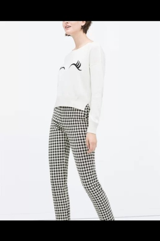 pants gingham print gingham black pants minimalist sweater