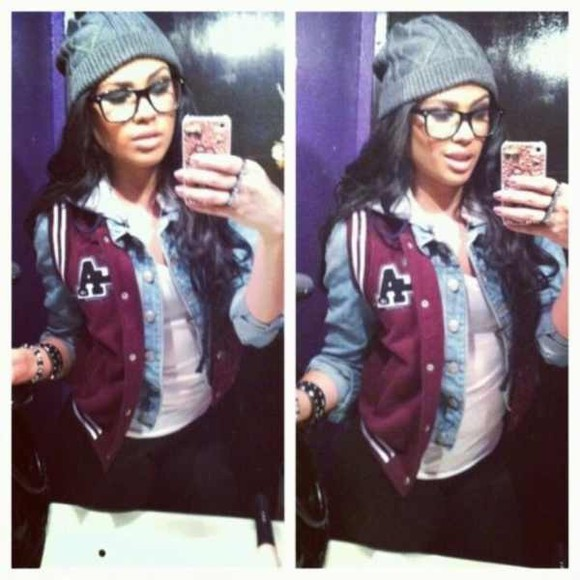 tank leggings jacket varsity vest beanie glasses denim jacket