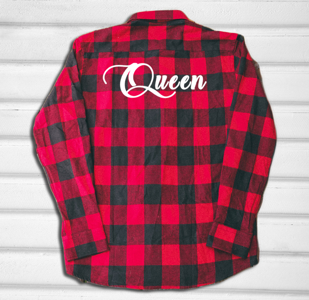 Queen Flannel Shirt More Colors Red And Blue